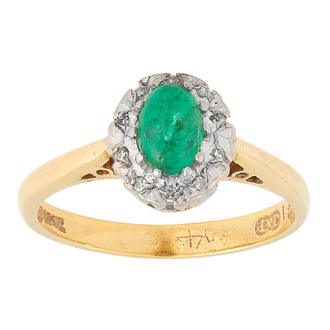 *NEW* Vintage Emerald and Diamond Cluster Ring, 18ct Yellow Gold