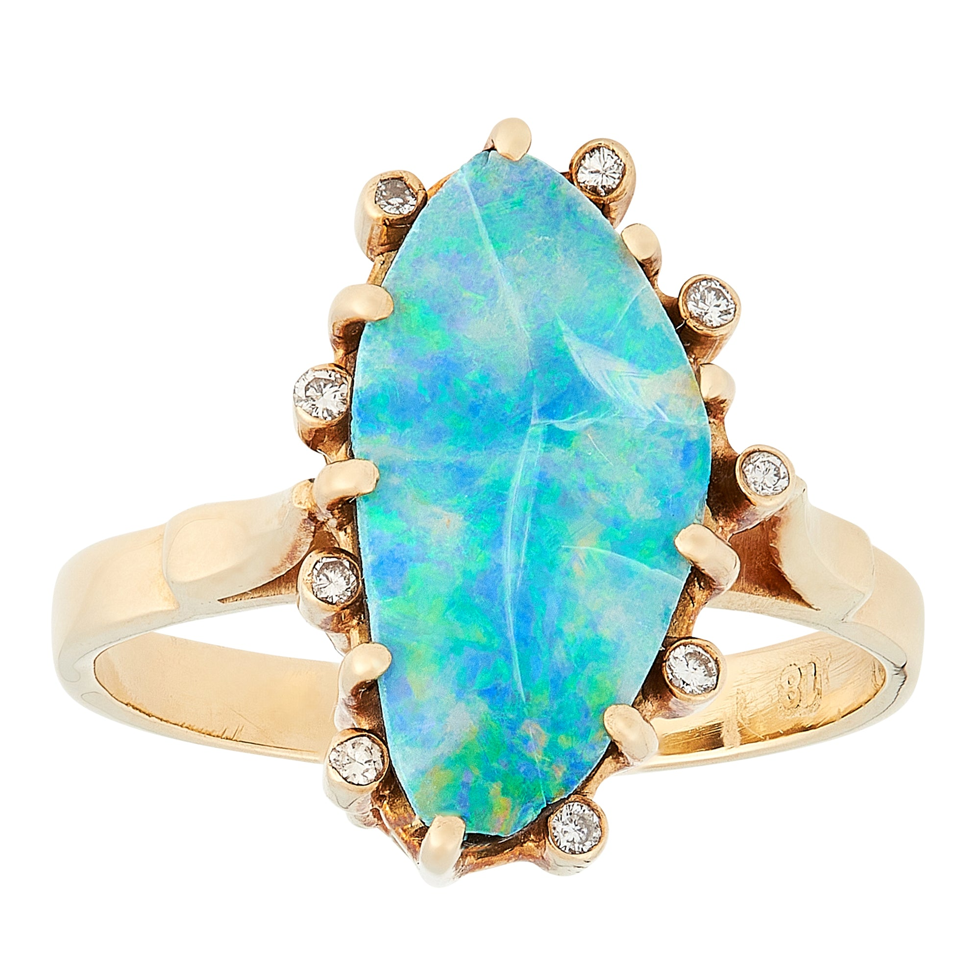 *NEW* Vintage Opal and Diamond Ring, 18ct Yellow Gold