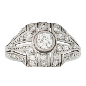 Art Deco Diamond Ring, Platinum