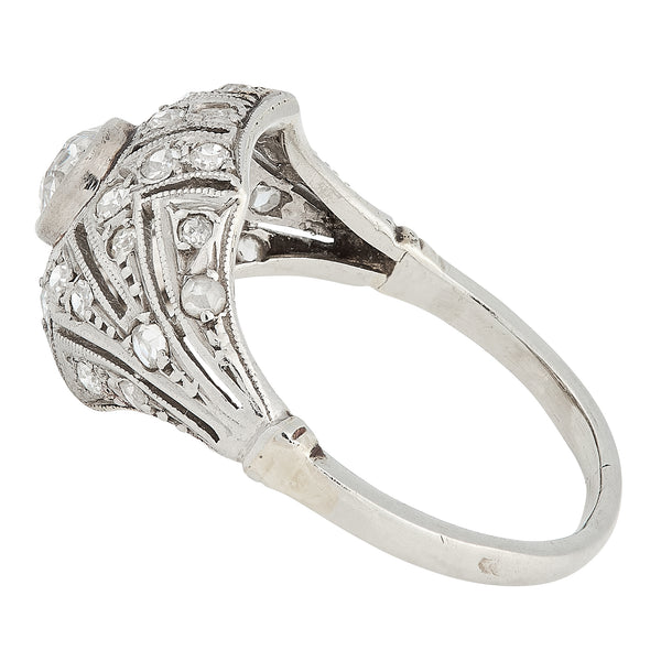 *NEW* Art Deco Diamond Ring, Platinum