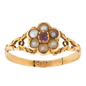 *NEW* Victorain Ruby and Pearl Ring, 18ct Yellow Gold