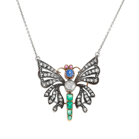 *New* Victorian Butterfly Necklace, Diamond Emerald Sapphire and Ruby