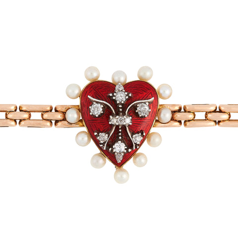 *NEW* Edwardian Red Enamel, Heart Bracelet , 18ct Yellow Gold