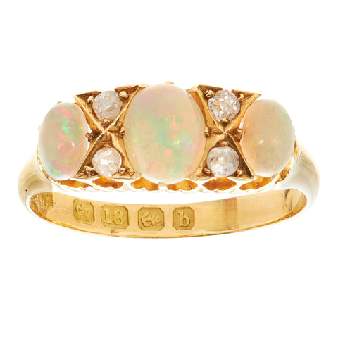 *NEW* Antique Edwardian Opal and Diamond Ring, 18ct yellow gold