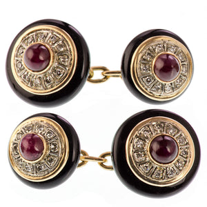 Art Deco Onyx, Ruby and Diamond Cufflinks 14ct Gold