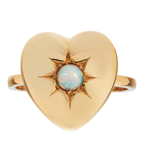 *New* Antique Edwardian Opal Heart Ring, Yellow Gold 15ct Yellow Gold