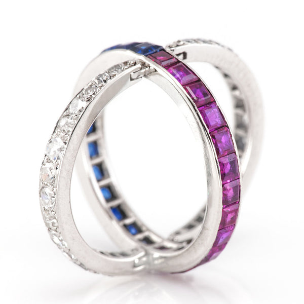 Deco Sapphire, Ruby and Diamond  - Night and Day  Ring