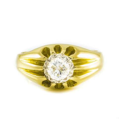 Gents Vintage Diamond Ring, 18ct yellow Gold