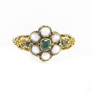 Victorian Pearls and Emerald Cluster Ring