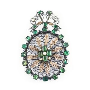*NEW* Austro Hungarian Emerald, Silver Filigree Pendant