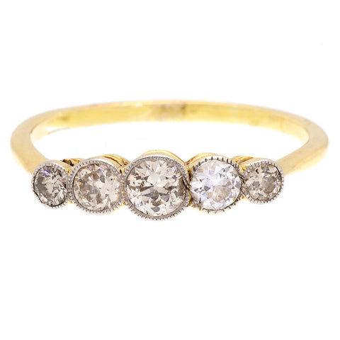 Edwardian Old Cut Diamond Five Stone Ring