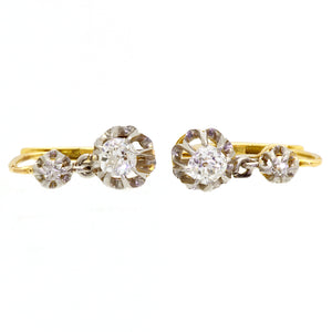 Victorian Two Stone Diamond Drop Earrings