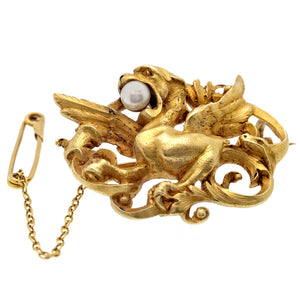 Art Nouveau Pearl Set Dragon Brooch