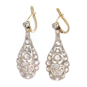 Nouveau Edwardian Diamond Drops Earrings 1900's