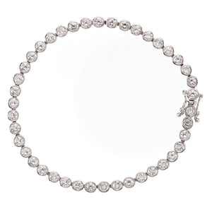 Vintage Diamond Tennis Bracelet 18 Carat White Gold