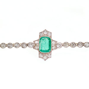 Edwardian Emerald and Diamond Bracelet