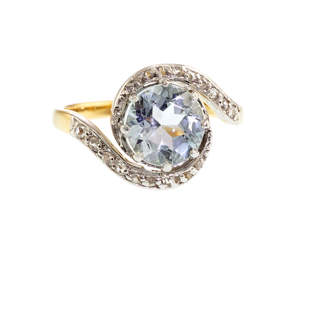 Art Deco Aquamarine and Diamond Swirl Ring, 18ct
