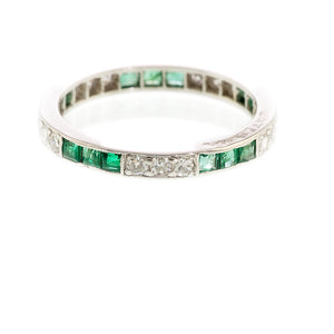 Art Deco Emerald and Diamond Full Eternity Ring, Platinum