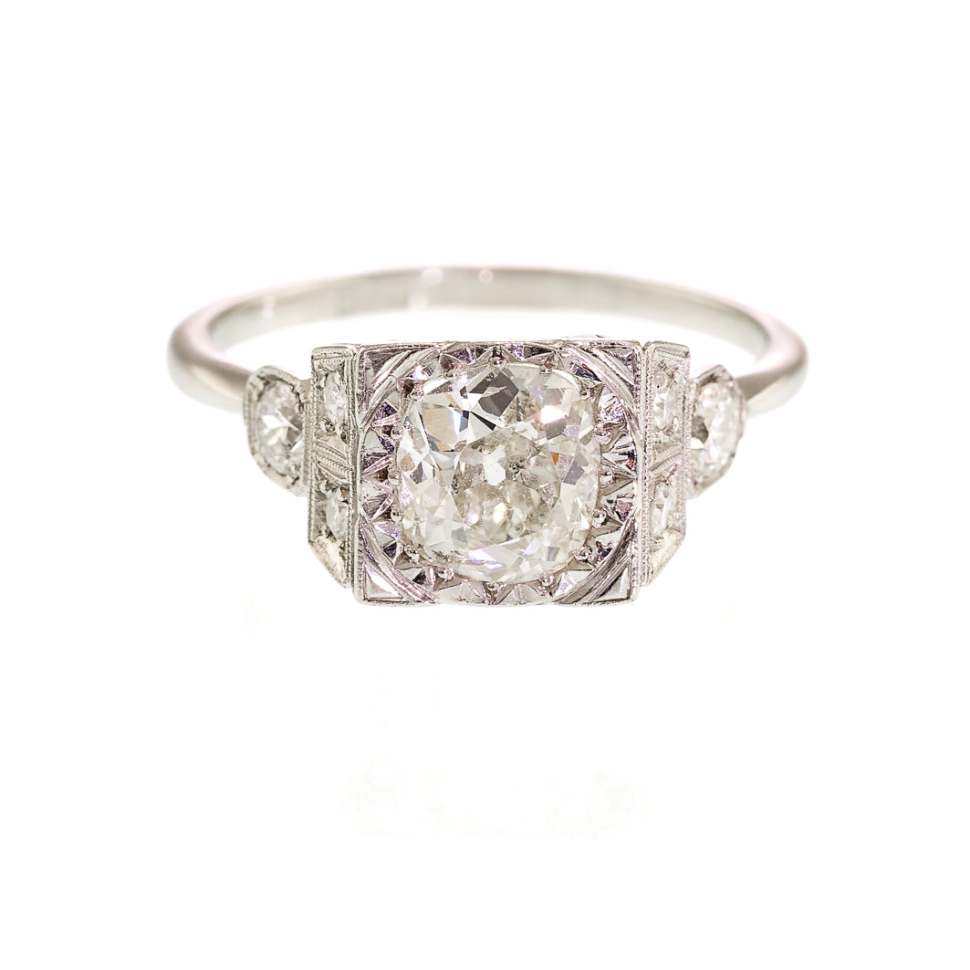 Art Deco 2.10carat Diamond Solitaire Ring, Platinum