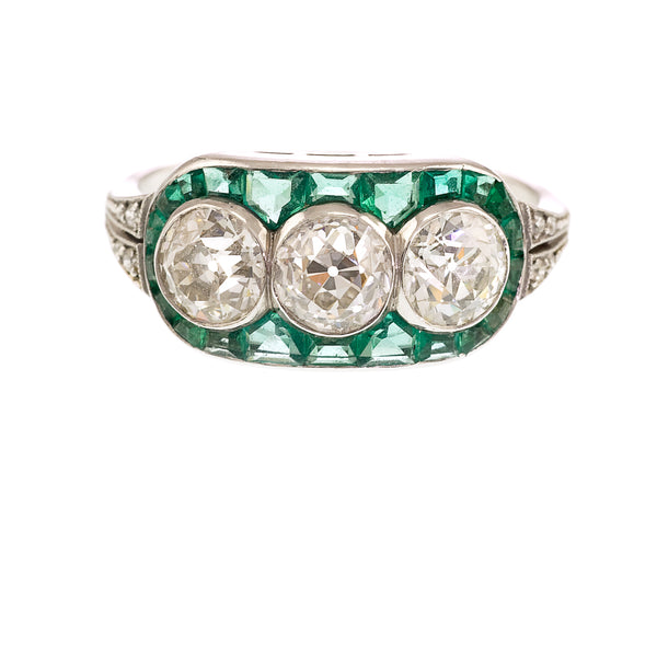 Art Deco Style Emerald and Diamond Ring, Platinum