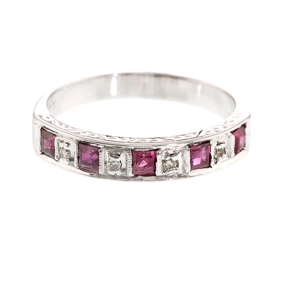 Vintage Ruby and Diamond Half Eternity Ring