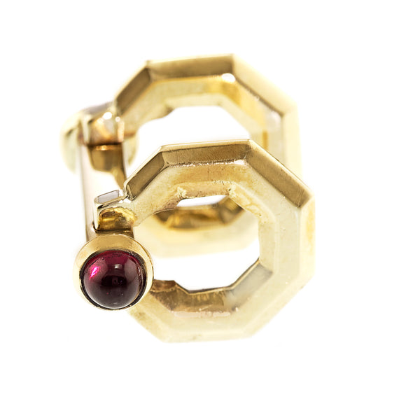Art Deco Ruby Stirrup Cufflinks, 18ct Yellow Gold
