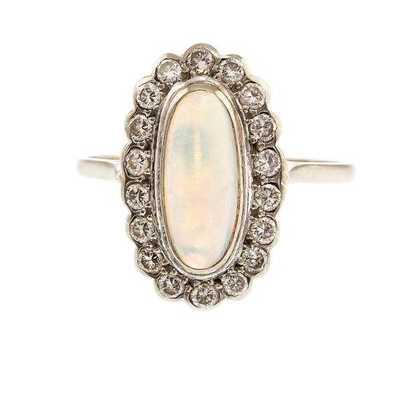 Edwardian Opal and Diamond Oval Cluster Ring, Circa 1910-1920