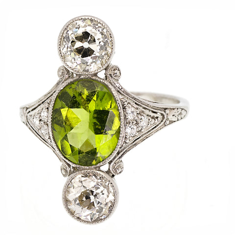 Antique Belle Epoque Peridot and Diamond Ring Circa 1910