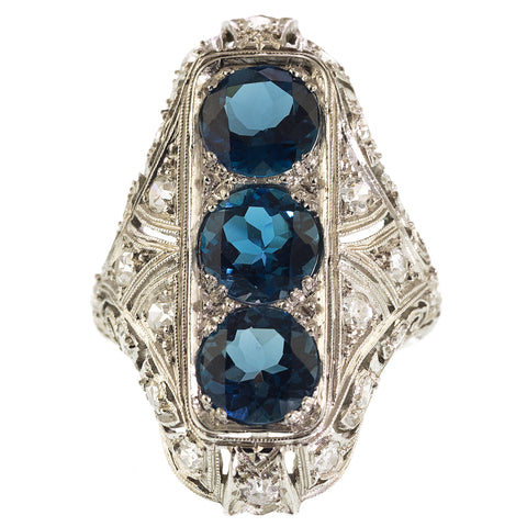 Art Deco Blue Topaz & Diamond Plaque Ring, Platinum.