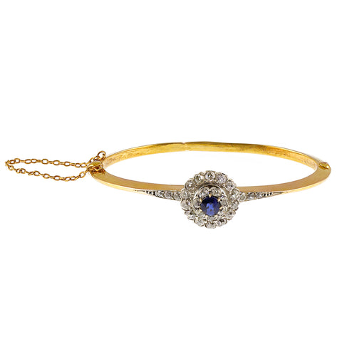 Victorian Natural Sapphire and Diamond Bangle, 18ct Yellow Gold