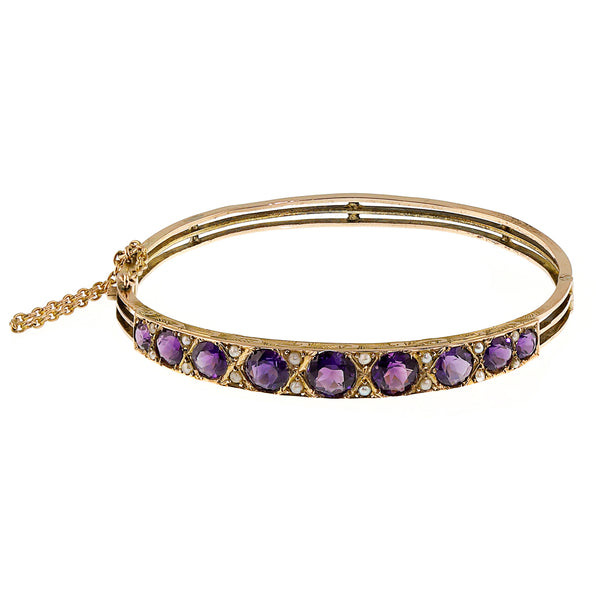 Edwardian Amethyst and Pearl Bangle