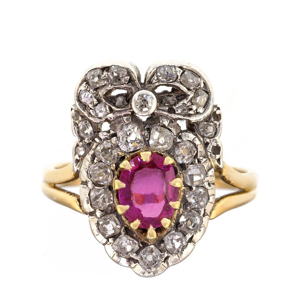 Antique Ruby and Diamond Heart and Bow Ring