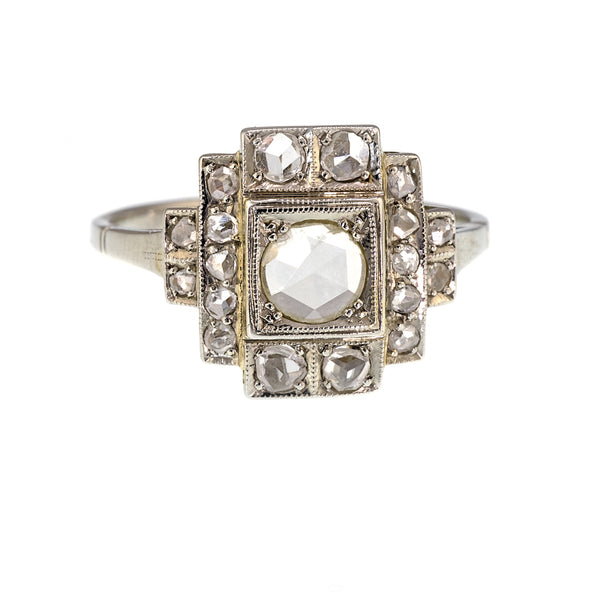 Art Deco Rose Cut Diamond Ring Platinum