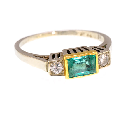 *NEW* Art Deco Emerald and Diamond  Ring, 14ct Gold