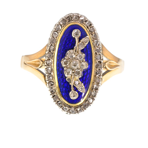 Antique French Guilloche Enamel and Diamond Ring