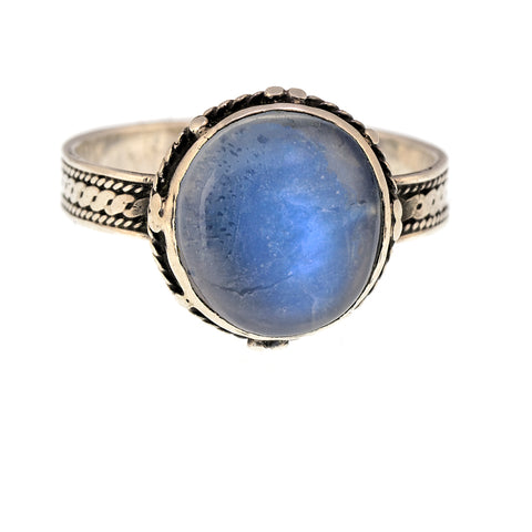 Antique Moonstone and Silver Ring