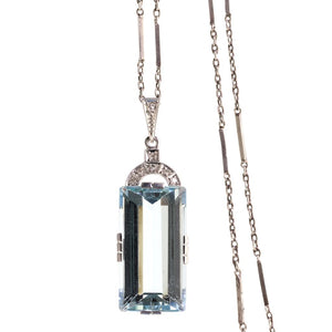 Art Deco Aquamarine and Diamond Pendant White Gold C1920's