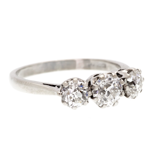 Vintage Three Stone Old Cut Diamond Ring