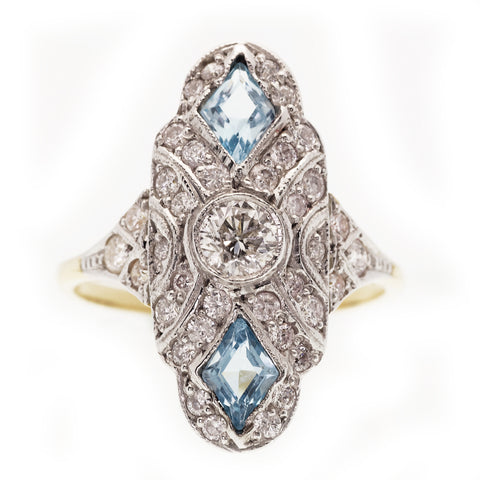 Art Deco Aquamarine and Diamond Down Finger Ring