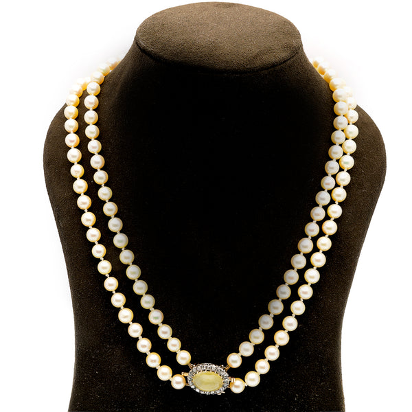 Antique Two Row Pearl Necklet with Chrysoberyl and Diamond Clasp