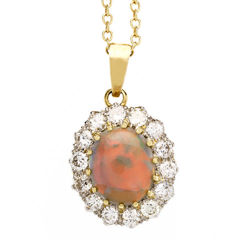 Vintage 1950's Opal and Diamond Cluster Pendant