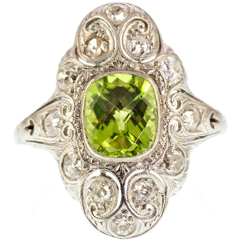 Art Deco Peridot and Diamond Ring in Platinum