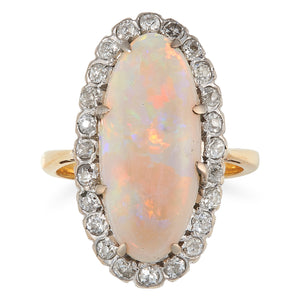 Edwardian Oval Opal and Diamond Ring, 18ct Yellow Gold