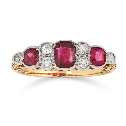 *NEW* Edwardian Natural Ruby and Diamond Ring, 18ct Yellow Gold