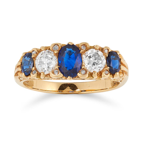 *NEW* Victorian Natural Sapphire and Diamond Ring, 18ct Yellow