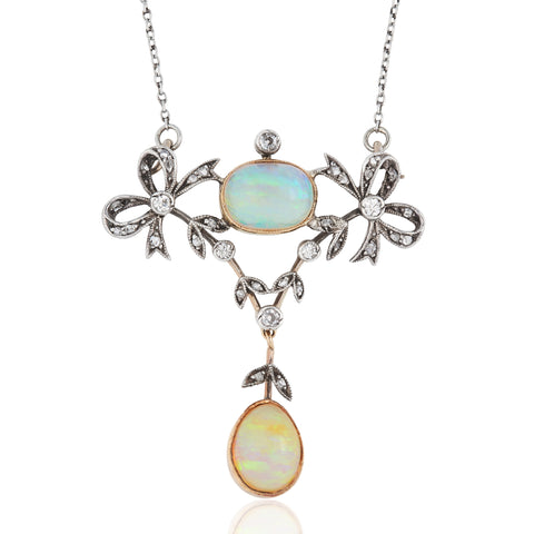 Antique Edwardian Opal and Diamond 18 Carat Gold Articulated Pendant Necklace