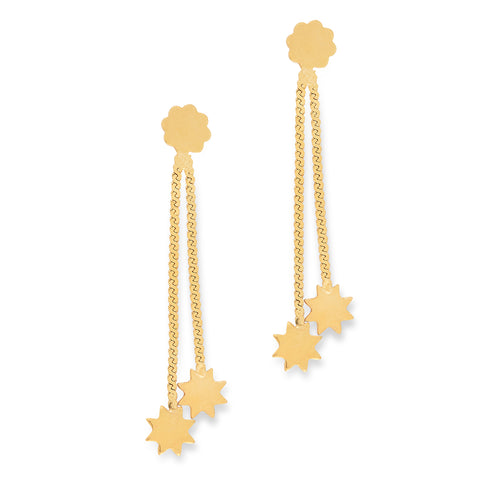 Star Drop Earrings 9 carat Yellow Gold