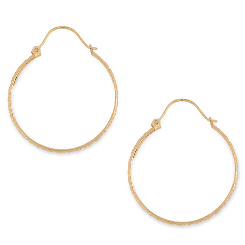 Patterned Hoop Earrings 9 carat Yellow Gold