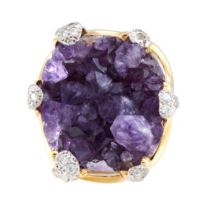 *NEW* Vintage Amethyst and Dimond Statement Ring, 18ct Yellow Gold