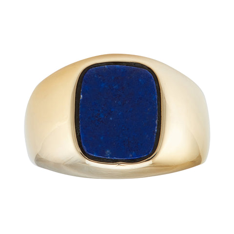 *NEW* Gents Lapis Signet Ring, 18ct yellow Gold - French